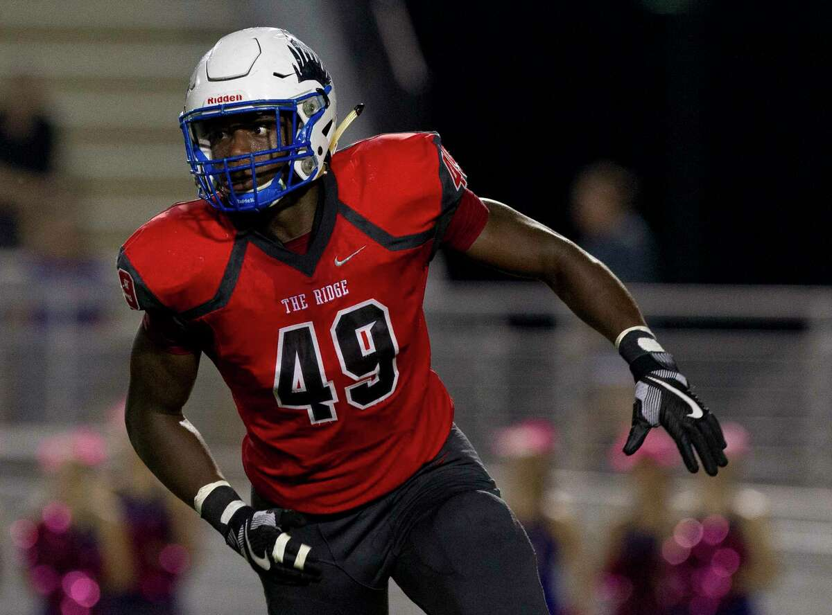 Oak Ridge defensive linemen Joseph Ossai (49) is seen during the first quarter of a District 12-6A high school football game at Woodforest Bank Stadium, Friday, Oct. 6, 2017, in Shenandoah.