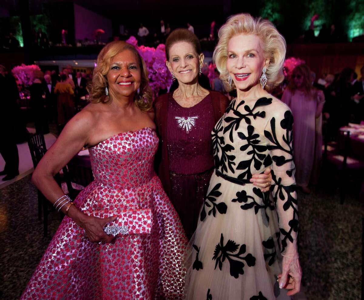 Yvonne Cormier, Annette de la Renta and Lynn Wyatt during the Museum of Fine Arts Grand Gala Ball on Friday, October 6, 2017, in Houston.