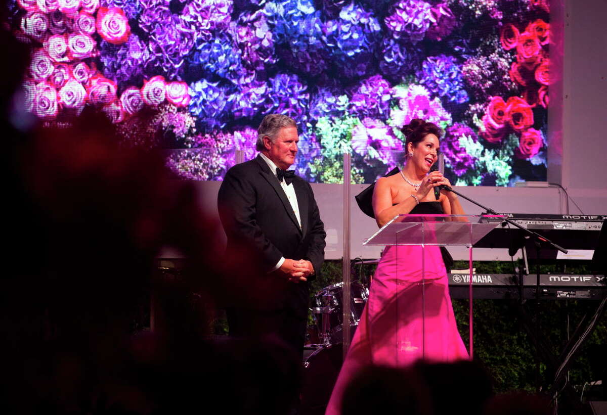 Chairs Jim and Cherie Flores thank guests during the Museum of Fine Arts Grand Gala Ball on Friday, October 6, 2017, in Houston.