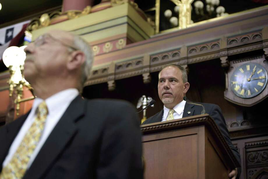 Speaker of the House Joe Aresimowicz, right, and Clerk Frederick Jortner, left, during the special session in Hartford Tuesday. Photo: Monica Jorge / Associated Press / ©Monica Jorge