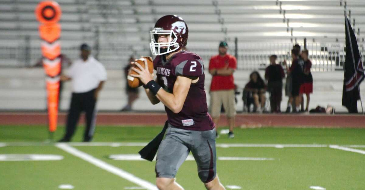 Clear Creek's Sam Mathews sets up to pass against Clear Brook Friday, Sep. 6 at CCISD Challenger Columbia Stadium.