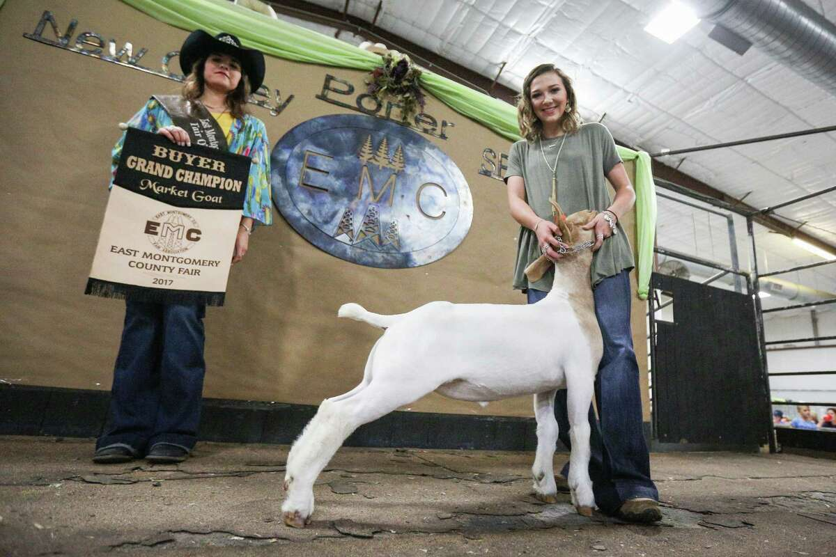 Splendora FFA's Haley Fleming shows her grand champion goat during the East Montgomery County Fair Auction on Saturday, Sept. 16, 2017, at A.V. 'Bull' Sallas Park in New Caney.