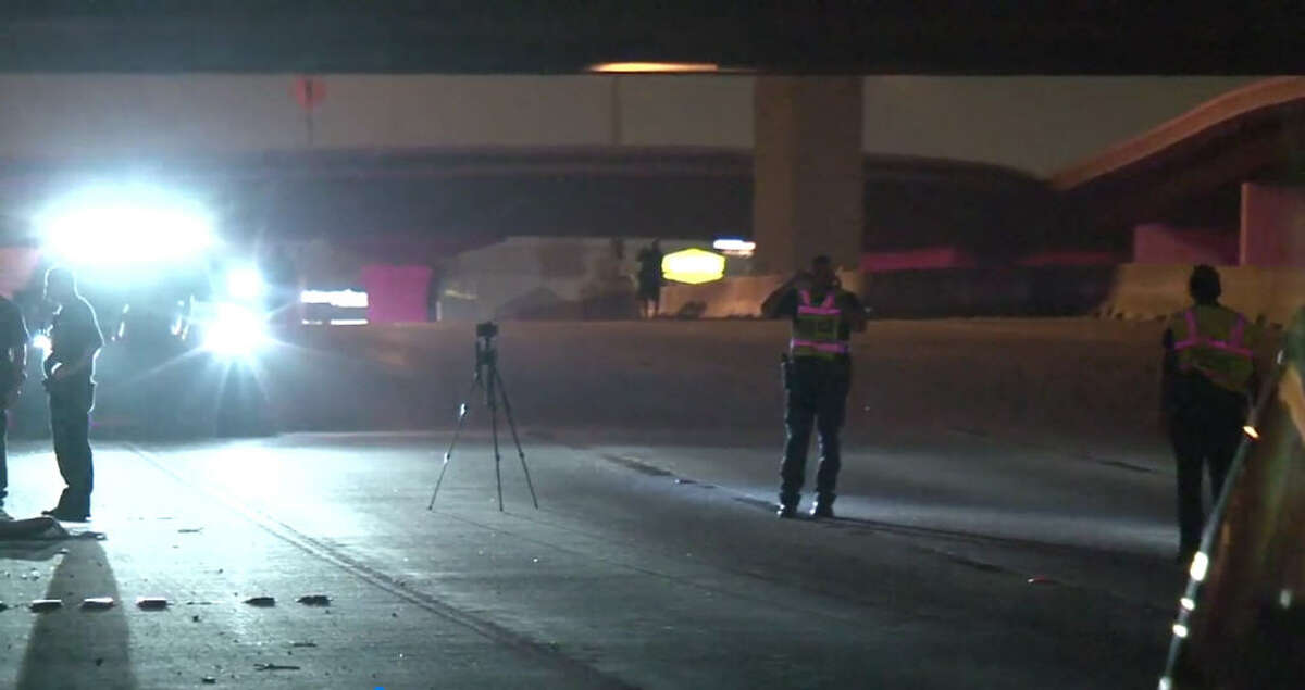 A person was fatally struck Saturday morning while walking on I-45 North freeway after being involved in another accident, according to the Houston Police Department.