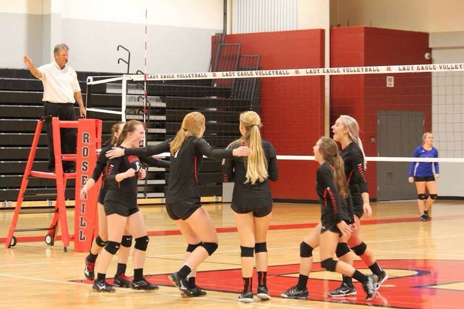 The Tomball Rosehill Christian volleyball team made the playoffs last      season, but their stay was short-lived. They're looking to stick around a while this time. The 2017 TAPPS volleyball playoffs tip off Friday, Oct. 27. The team celebrated after defeating Pasadena First Baptist in five sets Oct. 5, at Rosehill. Photo: Missy McGee
