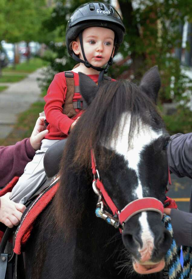 Two-year-old Ezekiel Oliver of Schenectady takes a pony ride during Upper Union StreetOs 12th Annual Harvest Fest Saturday Oct. 7, 2017 in Schenectady, NY.  (John Carl D'Annibale / Times Union) Photo: John Carl D'Annibale / 20041790A