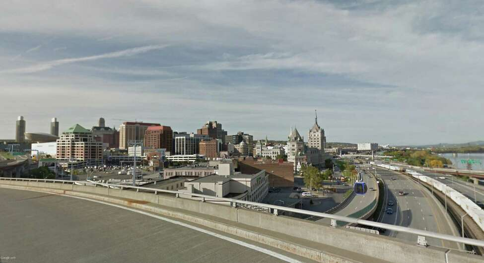 Rendering of the aerial gondola that will connect Amtrak's ninth busiest station, in Rensselaer, with downtown Albany. (Courtesy Capital Gondola)