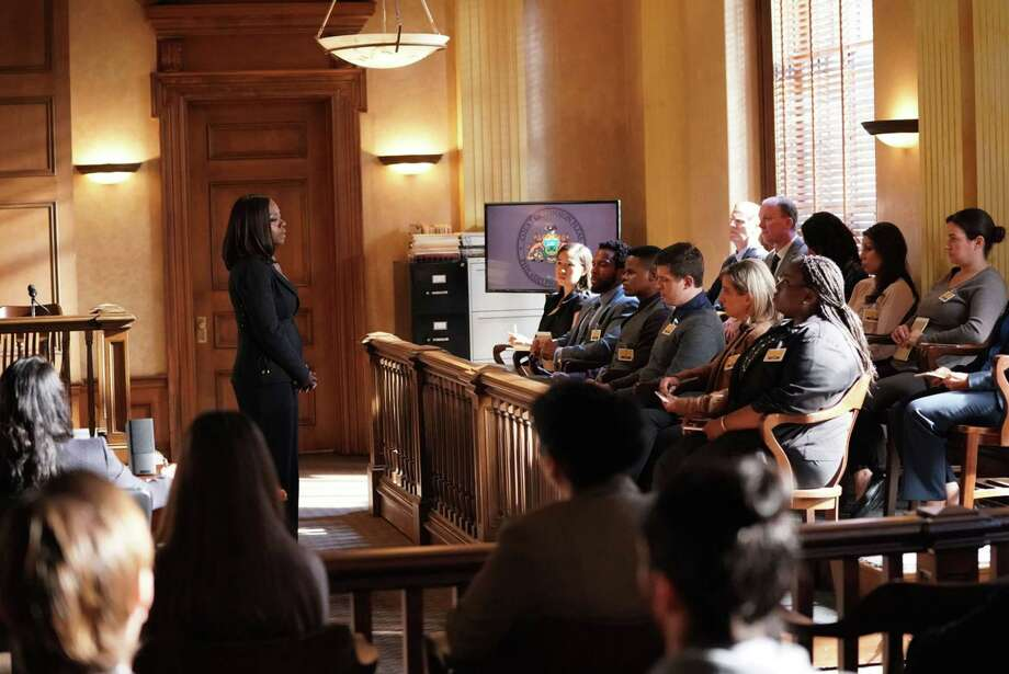 """HOW TO GET AWAY WITH MURDER - """"It's For the Greater Good"""" - Annalise takes on a case for the greater good and quickly realizes the stakes are much higher than she originally thought. Meanwhile, Laurel asks Michaela to help get information regarding Wes' death and Connor makes a major life decision that is not supported by the group. In a flash-forward, a surprising confrontation during the night of the crime is revealed, on """"How to Get Away with Murder,"""" THURSDAY, OCTOBER 12 (10:00-11:00 p.m. EDT), on The ABC Television Network. (ABC/Mitch Haaseth) VIOLA DAVIS Photo: Credit: Mitch Haaseth / © 2017 American Broadcasting Companies, Inc. Credit: Mitch Haase"""