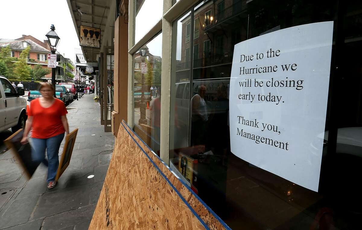 NEW ORLEANS, LA - OCTOBER 07: Local businesses prepare to close early prior to Hurricane Nate's arrival on October 7, 2017 in New Orleans, Louisiana. Nate is expected to make landfall as a category 2 hurricane near Biloxi, Mississippi later this evening. (Photo by Sean Gardner/Getty Images)