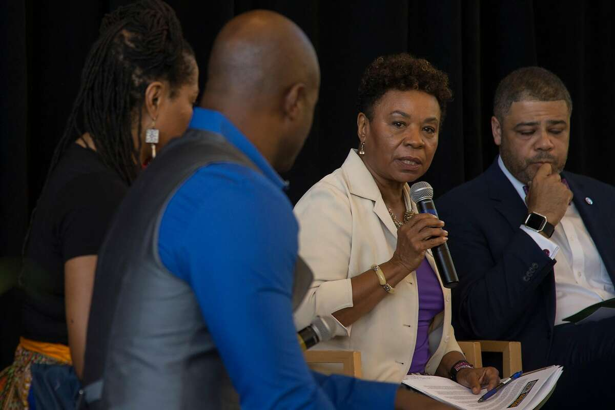 Rep. Barbara Lee (center) speaks during a panel discussion at Making Connections IV at Laney College in Oakland, Calif. on Oct. 6, 2017.