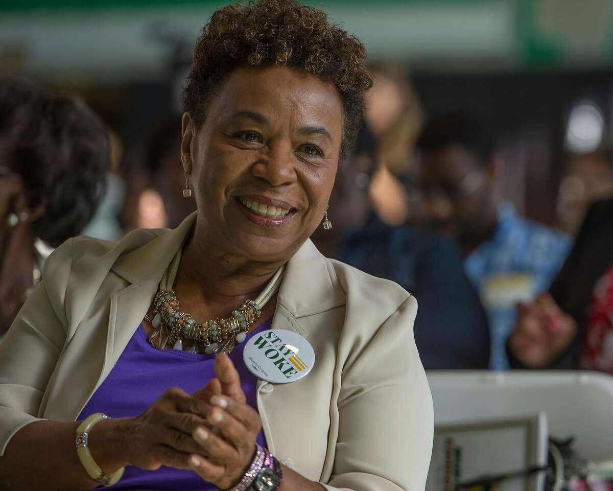 Rep. Barbara Lee smiles before participating on a panel discussion at Making Connections IV at Laney College in Oakland, Calif. on Oct. 6, 2017.