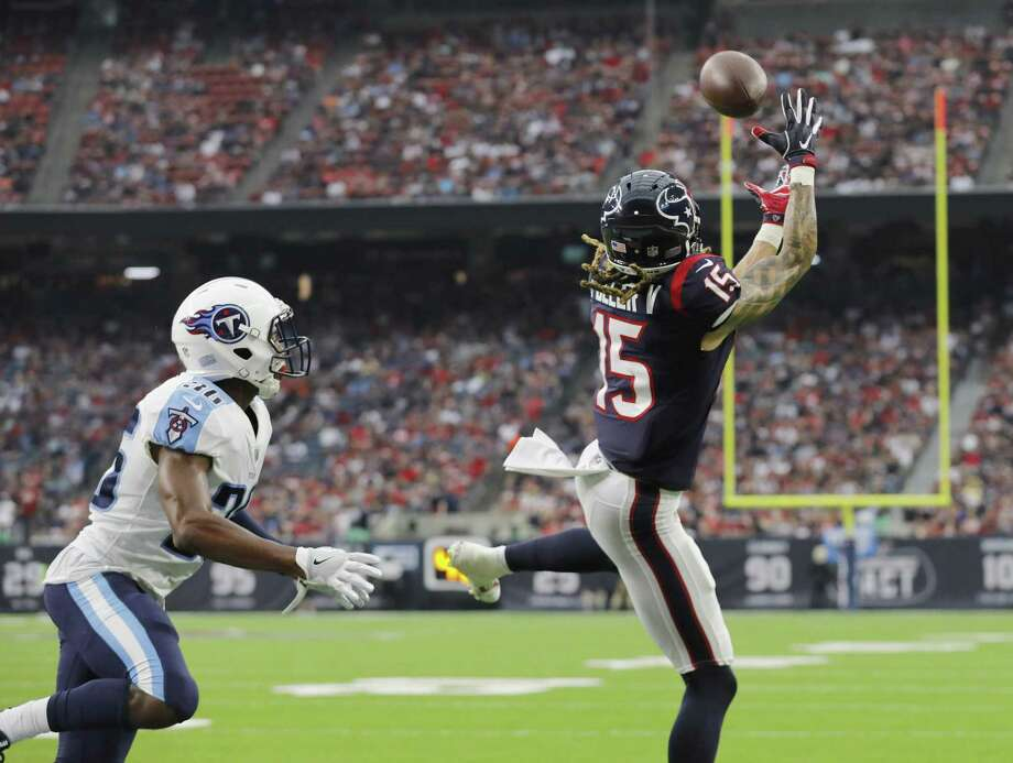 Will Fuller of the Texans catches a pass for a touchdown defended by LeShaun Sims of the Tennessee Titans in the third quarter at NRG Stadium on Oct. 1, 2017 in Houston. Photo: Tim Warner /Getty Images / 2017 Getty Images