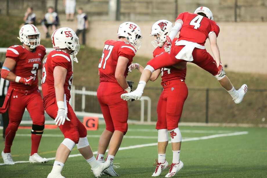 Fairfield Prep celebrates a touchdown against Sheehan during their game in Fairfield, Conn. on Friday, September 29, 2017. Photo: Chris Palermo / For Hearst Connecticut Media / Connecticut Post Freelance