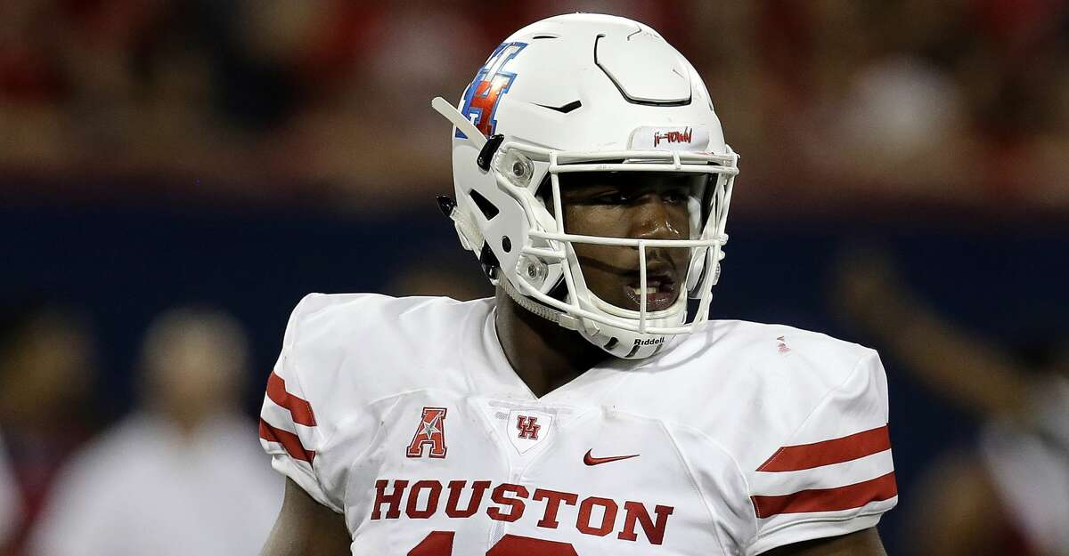 Houston defensive tackle Ed Oliver (10) in the first half during an NCAA college football game against Arizona, Saturday, Sept. 9, 2017, in Tucson, Ariz. (AP Photo/Rick Scuteri)