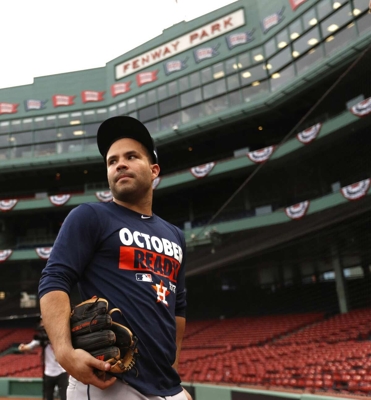Houston Astros second baseman Jose Altuve during the Astros workout at Fenway Park, Saturday, Oct. 7, 2017, in Boston , ahead of Sunday's ALDS Game 3. ( Karen Warren / Houston Chronicle )