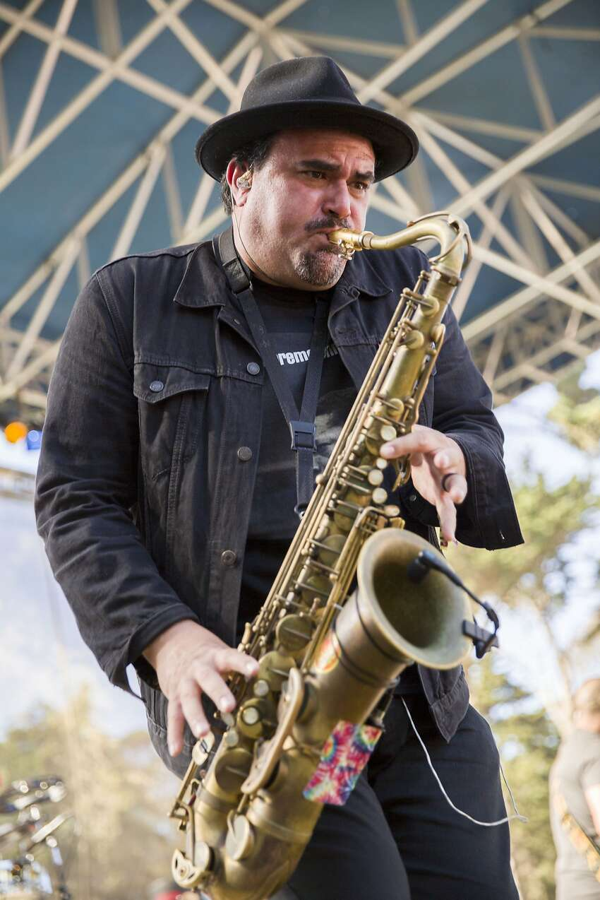 Ulises Bella of Ozomatli performs during the Hardly Strictly Bluegrass music festival at Golden Gate Park on Saturday, Oct. 7, 2017, in San Francisco, Calif.