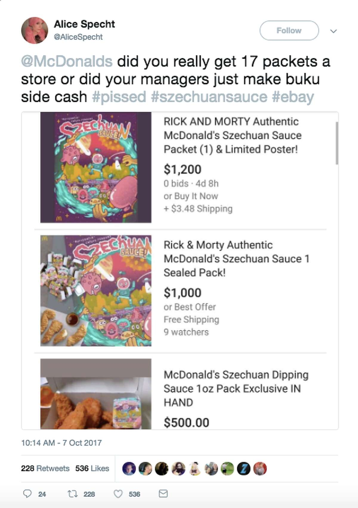 Fans took to Twitter to vent when many McDonald's locations ran out of szechuan sauce early in the day Saturday.