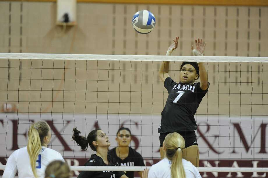 Panebi Shirey and the TAMIU volleyball team lost 3-0 at second-place Newman on Saturday afternoon. Photo: Courtesy Of TAMIU Athletics, File