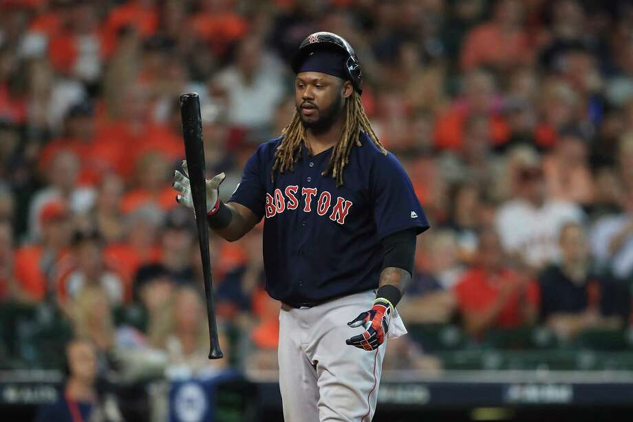 HOUSTON, TX - OCTOBER 06:  Hanley Ramirez #13 of the Boston Red Sox reacts after striking out in the eighth inning against the Houston Astros during game two of the American League Division Series at Minute Maid Park on October 6, 2017 in Houston, Texas.  (Photo by Ronald Martinez/Getty Images) ORG XMIT: 775053706 Photo: Ronald Martinez / 2017 Getty Images
