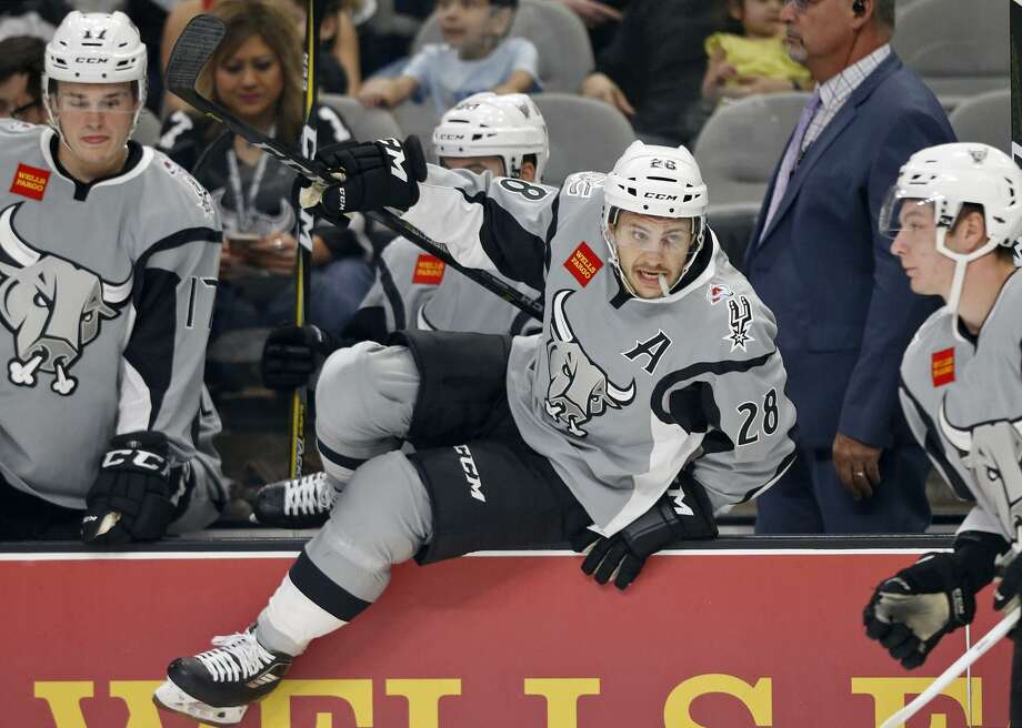 San Antonio Rampage's Andrew Agozzino heads to the ice  during first period action against the Ontario Reign Saturday Oct. 7, 2017 at the AT&T Center. Photo: Edward A. Ornelas, Staff / San Antonio Express-News / © 2017 San Antonio Express-News