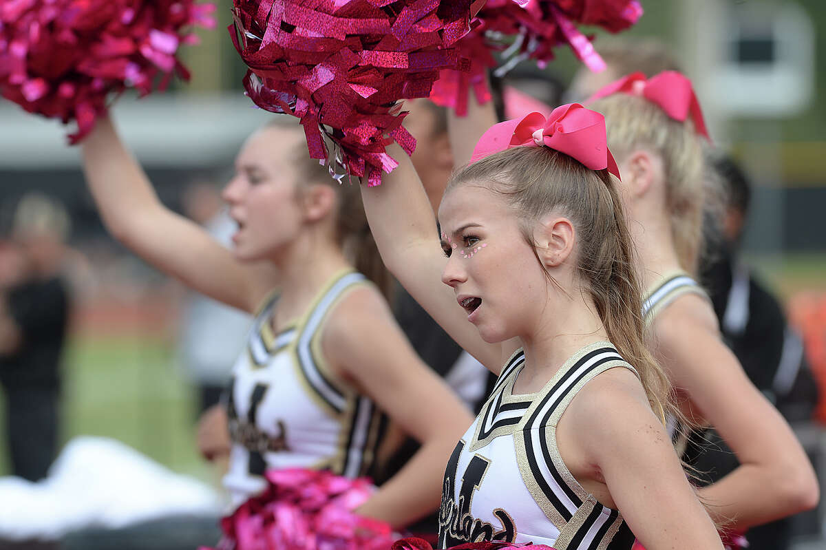 Nederland's keep the Bulldog spirit alive on the sidelines as they face Vigor's Pirates Saturday at Vidor High School. Photo taken Saturday, October 7, 2017 Kim Brent/The Enterprise