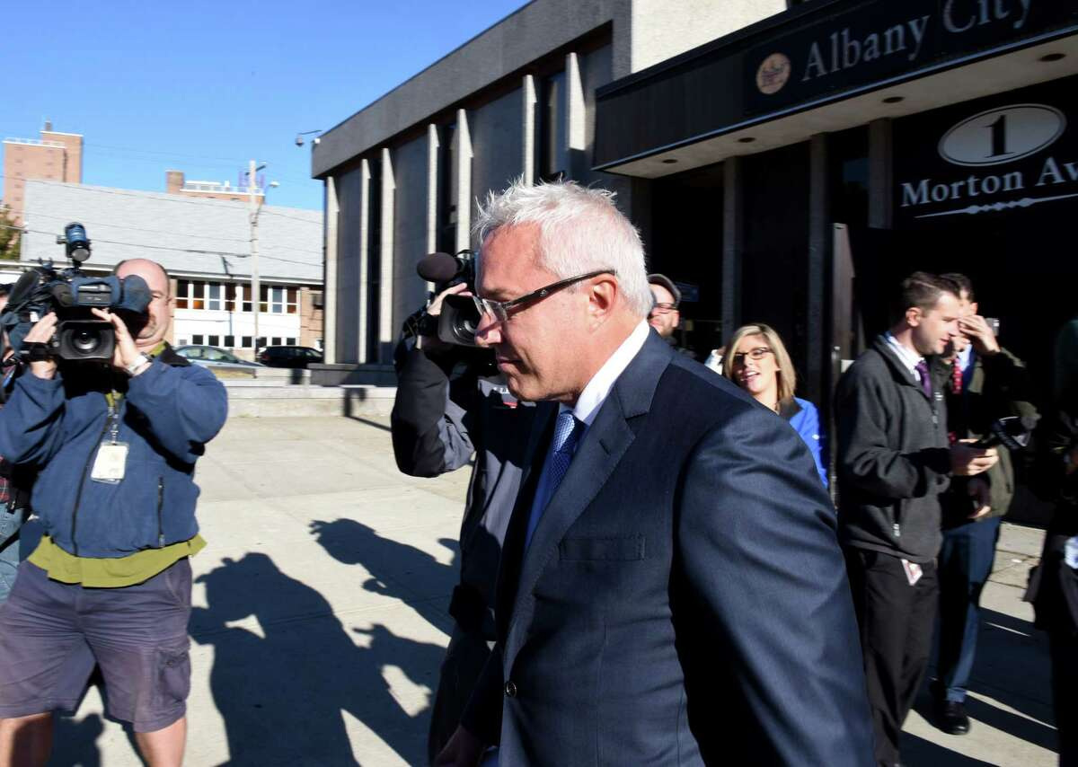 Joseph Nicolla, president of Columbia Development, leaves Albany City Courthouse after being arraigned on state charges for alleged bid-rigging on Monday morning, Sept. 26, 2016, in Albany, N.Y. (Will Waldron/Times Union archive)