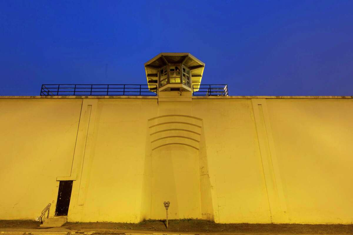 A guard house stands above the wall of the Clinton Correctional Facility, Monday, June 15, 2015, in Dannemora, N.Y. (AP Photo/Mark Lennihan)
