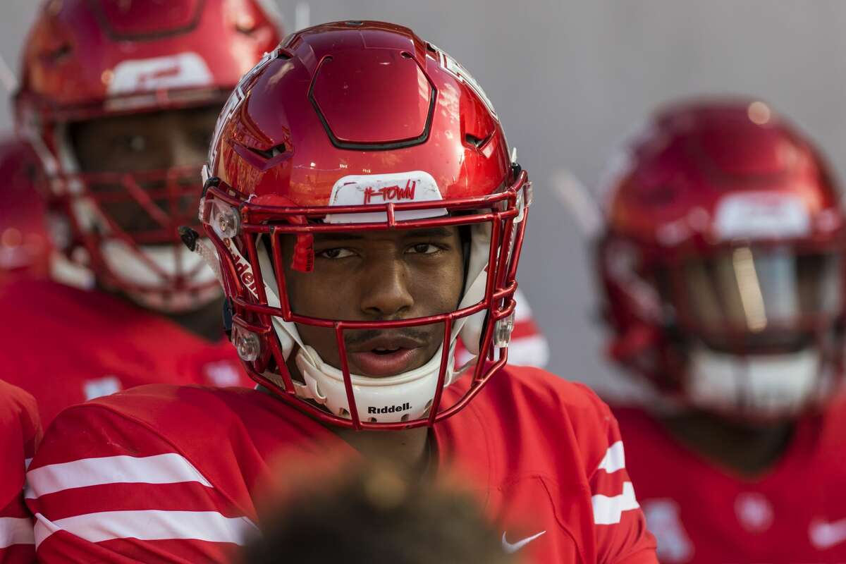 Houston safety Terrell Williams (23) brings the defense out for team warmups before an NCAA college football game at TDECU Stadium on Saturday, Oct. 7, 2017, in Houston, Texas. (Joe Buvid / For the Houston Chronicle)