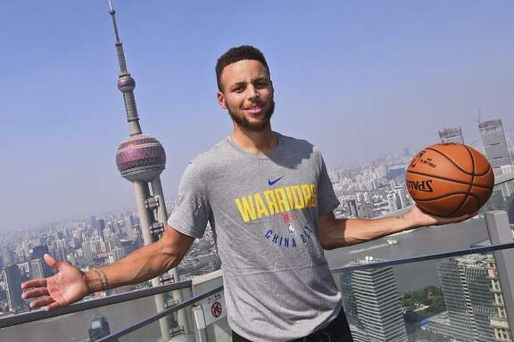 "Clockwise, from top left: Klay Thompson boards a plane for China last Sunday; Kevin Durant addresses media at practice; Stephen Curry poses in Shanghai; and Nick Young plays in an ""NBA2K""-sponsored event."