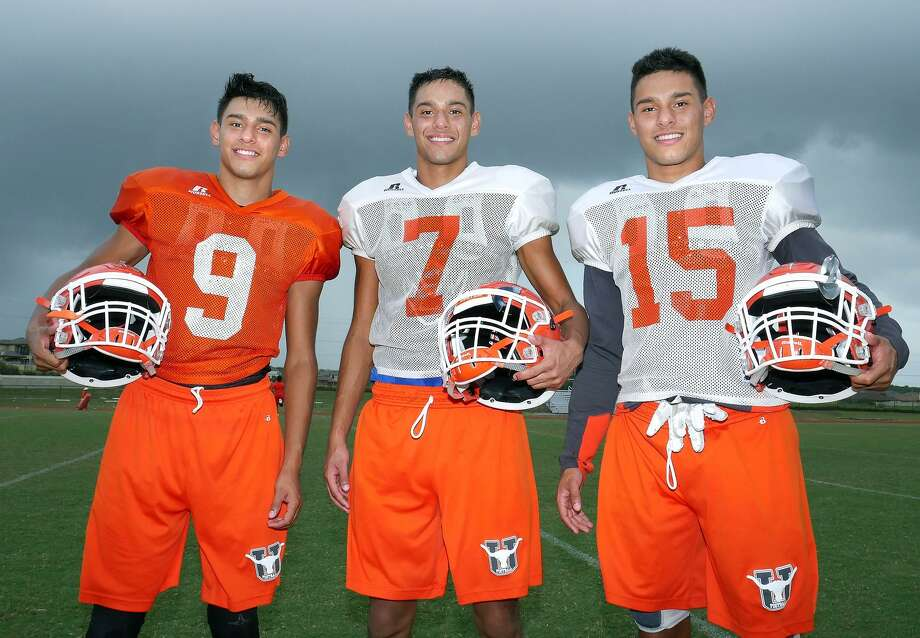 Triplets John, Jacob and Joshua Morales are playing varsity football together for one season at United. Photo: Cuate Santos / Laredo Morning Times / Laredo Morning Times