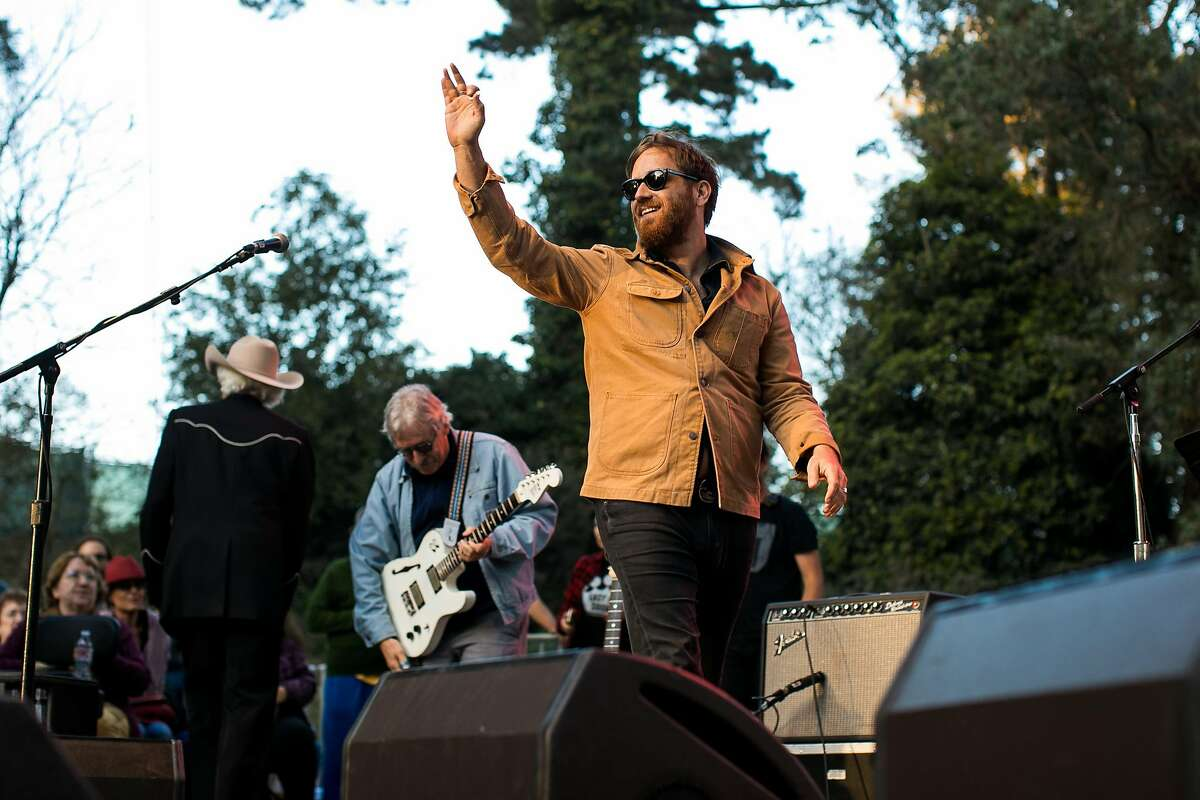 Dan Auerbach waves to the crowd before performing at the Rooster Stage during the Hardly Strictly Bluegrass in San Francisco, Calif. Saturday, October 7, 2017.