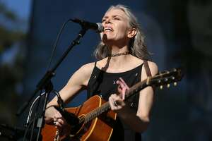 Gillian Welch performs during the Hardly Strictly Bluegrass music festival at Golden Gate Park on Saturday, Oct. 7, 2017, in San Francisco, Calif.