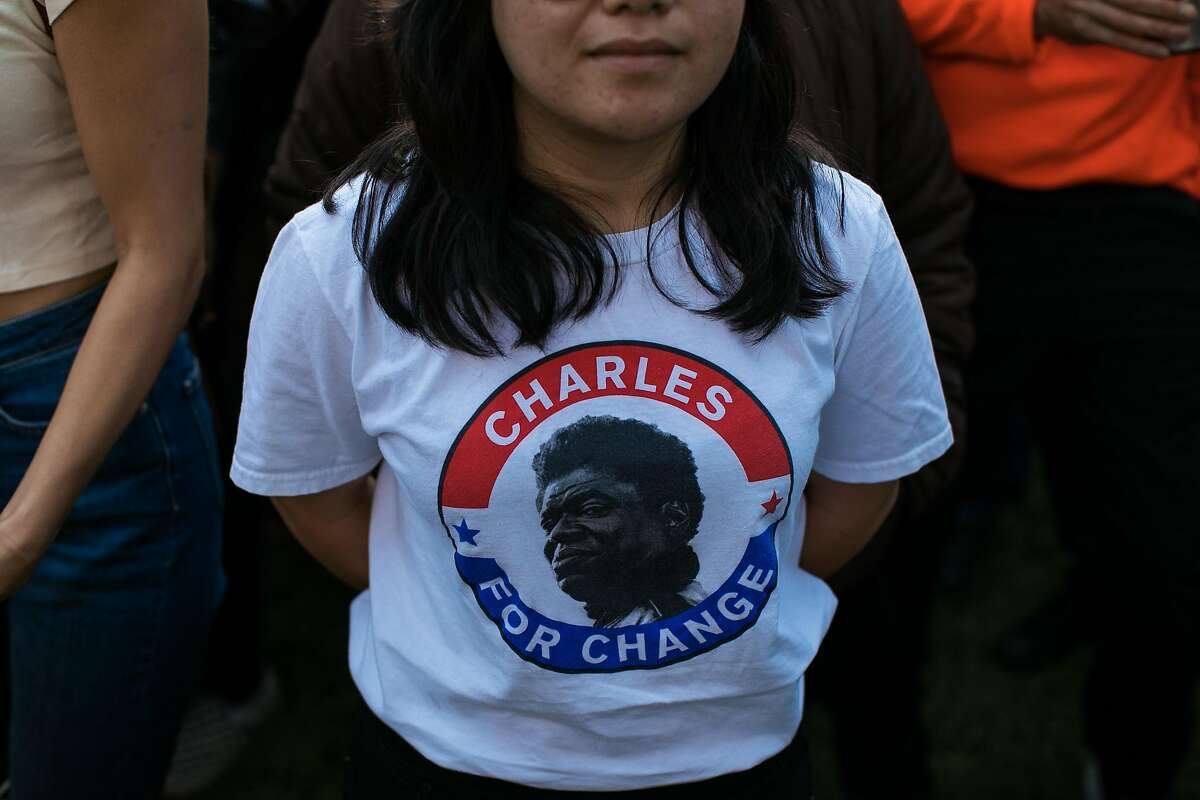 Anna Sierrasgot is seen with a Charles Bradley shirt at the Rooster Stage at the Hardly Strictly Bluegrass in San Francisco, Calif. Saturday, October 7, 2017.