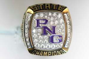 The Port Neches-Groves 2017 baseball state championship rings feature the school's initials on the face with their season record and the player or coach's last name on the sides. Photo taken Wednesday 10/4/17 Ryan Pelham/The Enterprise