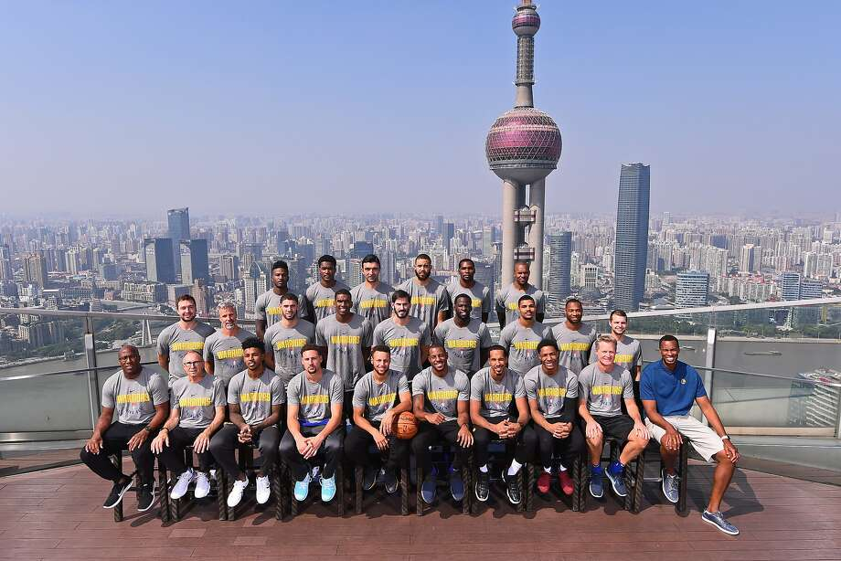 SHANGHAI, CHINA - OCTOBER 07:  The Golden State Warriors pose for a team photo as part of 2017 NBA Global Games China on October 7, 2017 at the Ritz Carlton in Shanghai, China. NOTE TO USER: User expressly acknowledges and agrees that, by downloading and/or using this Photograph, user is consenting to the terms and conditions of the Getty Images License Agreement. Mandatory Copyright Notice: Copyright 2017 NBAE (Photo by Noah Graham/NBAE via Getty Images) Photo: Noah Graham, NBAE/Getty Images