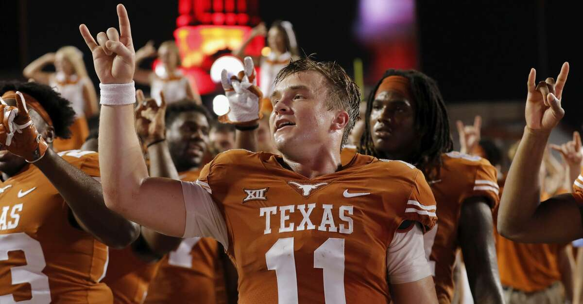 AUSTIN, TX - OCTOBER 07: Sam Ehlinger #11 of the Texas Longhorns sings the Eyes of Texas after the game against the Kansas State Wildcats at Darrell K Royal-Texas Memorial Stadium on October 7, 2017 in Austin, Texas. (Photo by Tim Warner/Getty Images)