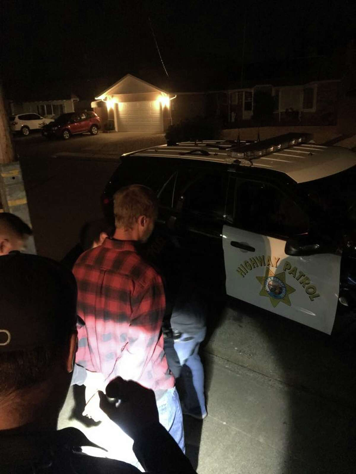 Four cyclists were injured, one severely, Saturday in rural Marin County when the driver of a pickup struck slammed his vehicle into the group and then took off without stopping. CHP Marin arrested a suspect in Novato.