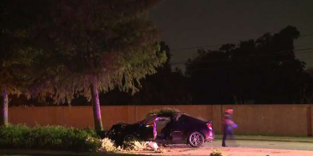 A car crashed into a pine tree on Westheimer Road near Briarpark Drive early Oct. 8.