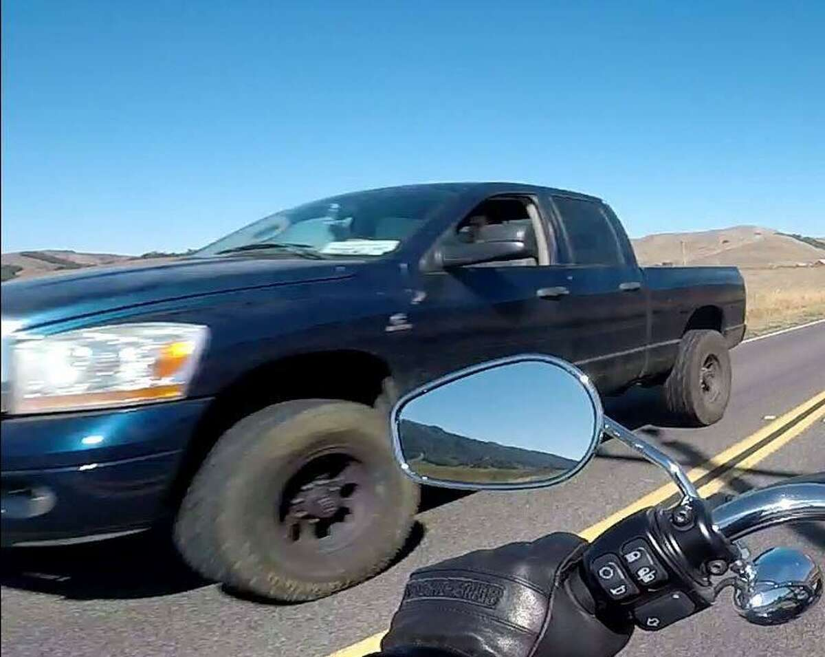 The CHP was looking for the driver of a blue Dodge pickup truck who is suspected of plowing into four cyclists in Marin County on Saturday.