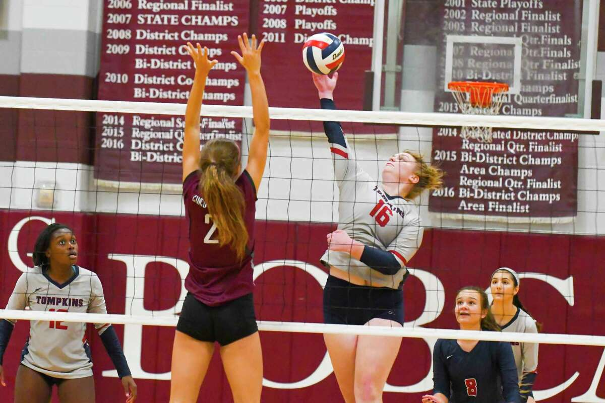 2017 Katy/ Cypress Volleyball Classic Houston area school competed in the 2017 Katy/ CyFair Volleyball Classic. Caption Tonpkins No. 16 Katelyn Finch was a key player for her team in the gold finals of the tournament