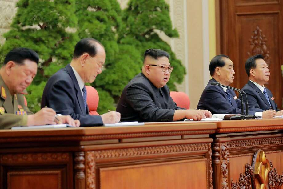 North Korean leader Kim Jong Un attends a meeting Saturday of his ruling Workers' Party. Kim pledged to build up his country's nuclear arsenal despite international pressure to halt testing. Photo: STR, AFP/Getty Images