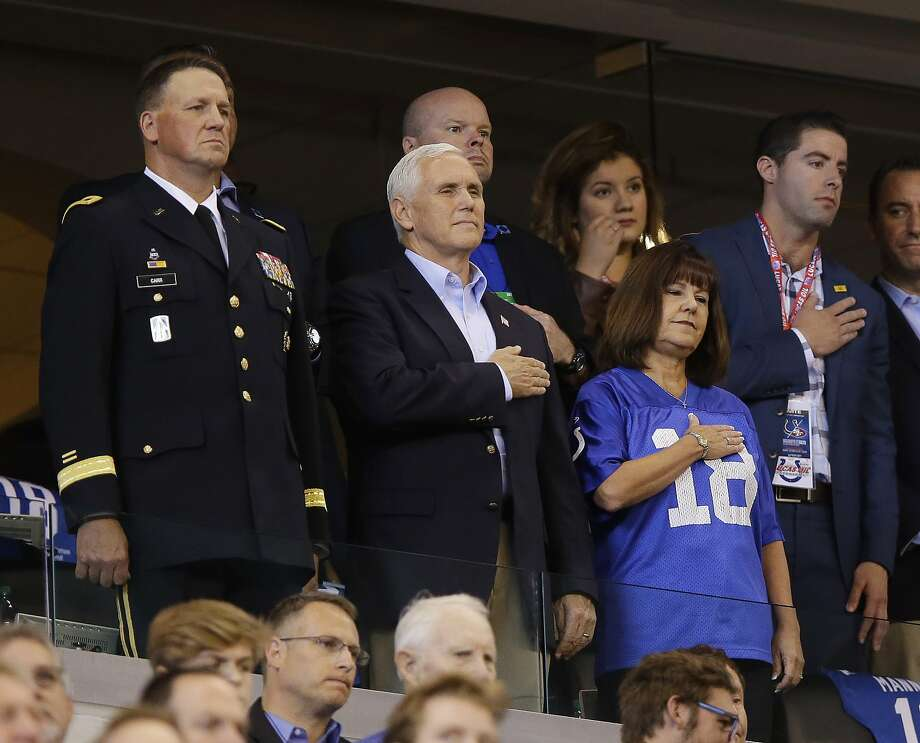 Vice President Mike Pence stands during the playing of the national anthem before an NFL football game between the Indianapolis Colts and the San Francisco 49ers, Sunday, Oct. 8, 2017, in Indianapolis. (AP Photo/Michael Conroy) Photo: Michael Conroy, Associated Press