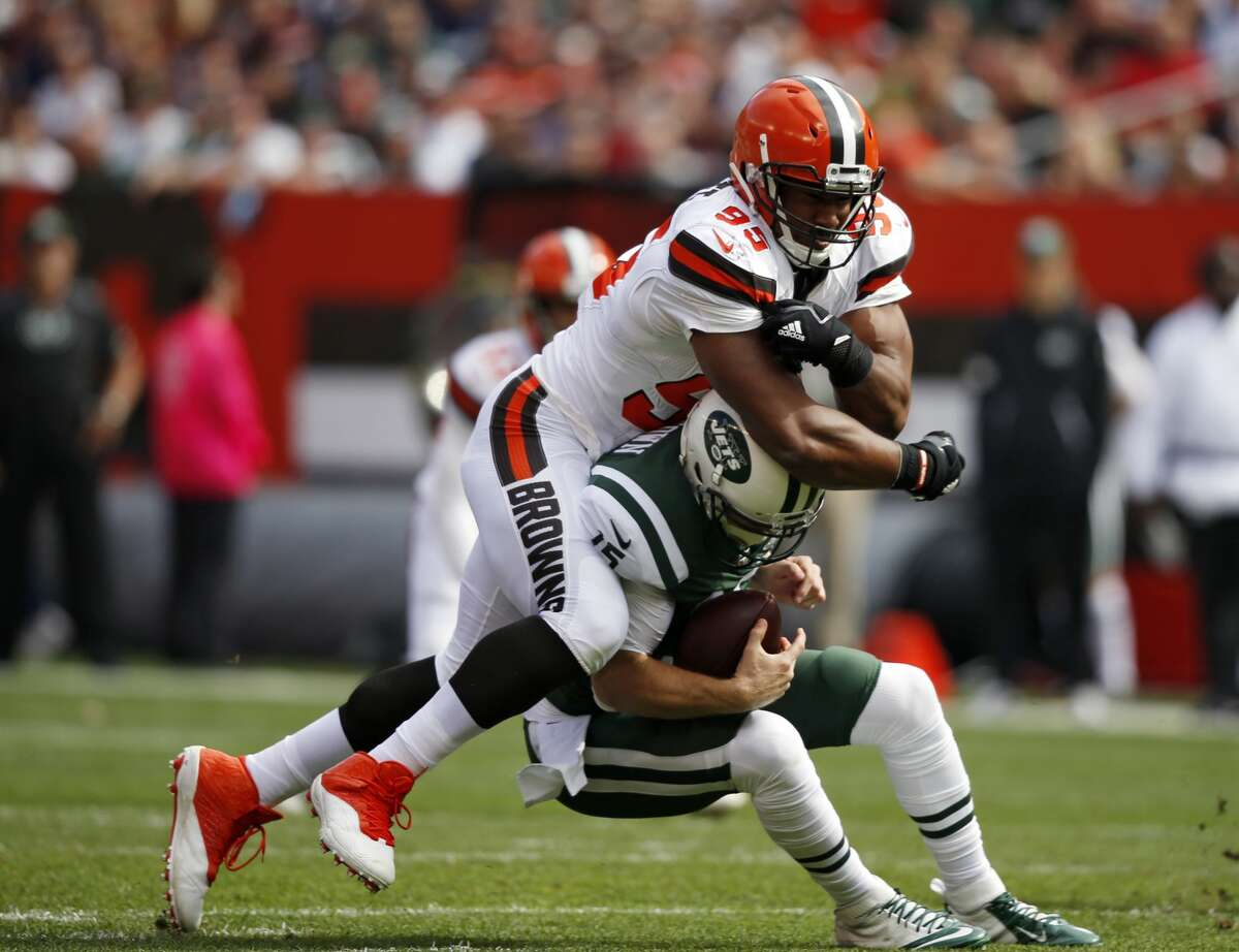 Cleveland Browns defensive end Myles Garrett sacks New York Jets quarterback Josh McCown during the first half of an NFL football game, Sunday, Oct. 8, 2017, in Cleveland. (AP Photo/Ron Schwane)