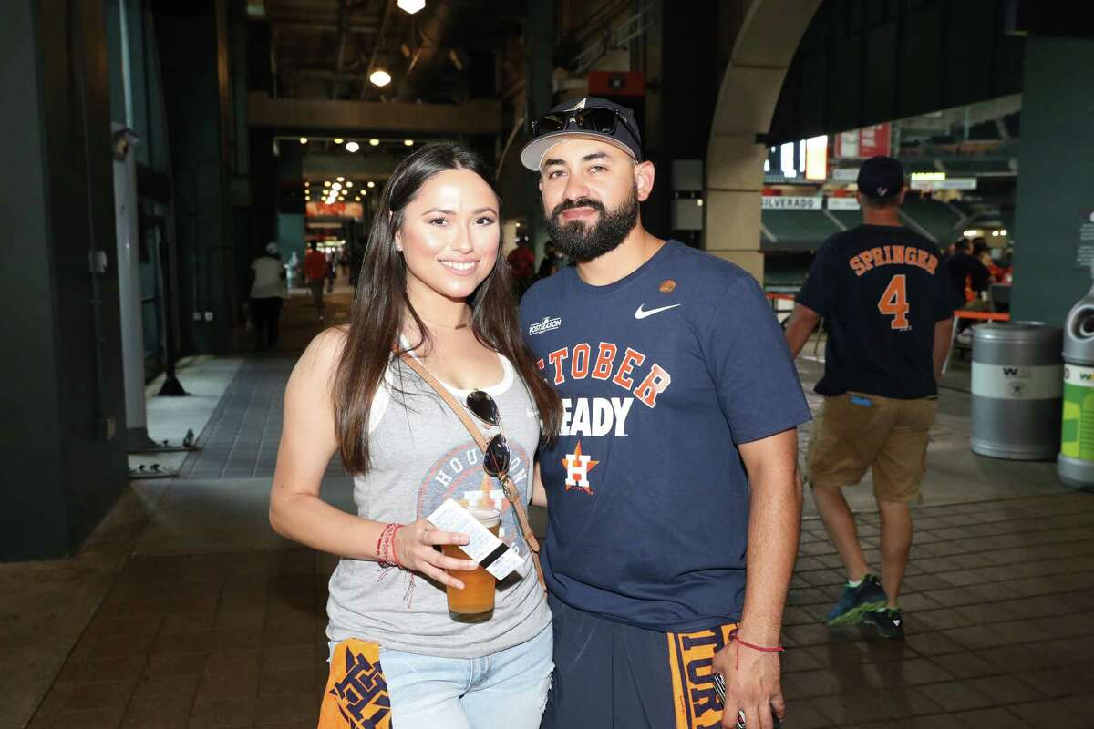 PHOTOS: A look at Astros fans watching Game 3 on the videoboards at Minute Maid Park Houston Astros fans pose for a photo at the team's watch party at Minute Maid Park on Sunday, Oct. 8, 2017, in Houston. Browse through the photos above for a look at the fans at Minut Maid Park on Sunday afternoon.