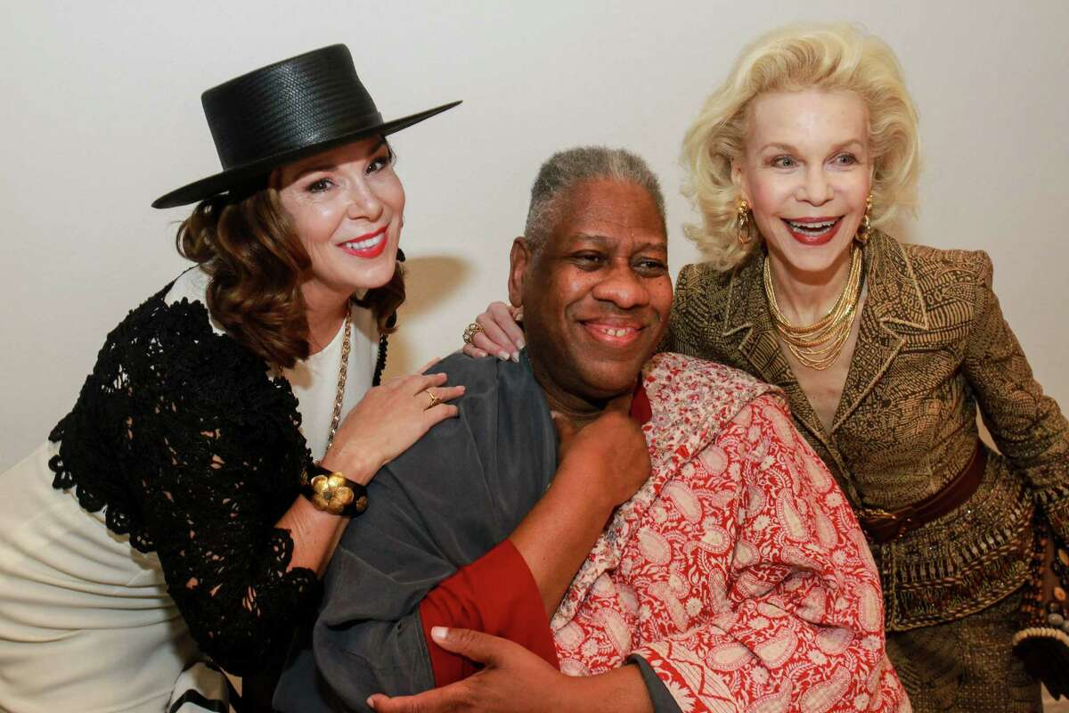Above left: André Leon Talley, right, and Oscar de la Renta attend Talley's book-signing in 2005 in New York. Above: Cherie Flores, from left, Talley and Lynn Wyatt reunite at the Oscar de la Renta fashion show and luncheon at the Museum of Fine Arts, Houston.