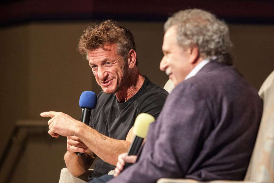 Sean Penn speaks with Mill Valley Film Festival executive director Mark Fishkin at the Smith Rafael Film Center during Mill Valley Film Festival's 40th Anniversary Tribute Program to Mr. Penn in San Rafael. Photo: Peter DaSilva, Special To The Chronicle