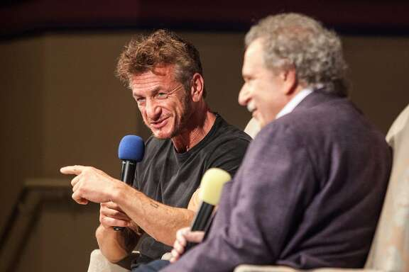Sean Penn speaks with Mill Valley Film Festival executive director Mark Fishkin at the Smith Rafael Film Center during Mill Valley Film Festival's 40th Anniversary Tribute Program to Mr. Penn in San Rafael, California, USA 7 Oct 2017. (Peter DaSilva/Special to The Chronicle)