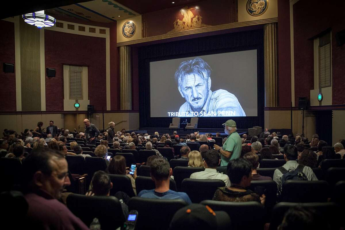 Festival goers wait for the start of the Mill Valley Film Festival's 40th Anniversary Tribute Program to actor Sean Penn at the Smith Rafael Film Center in San Rafael.