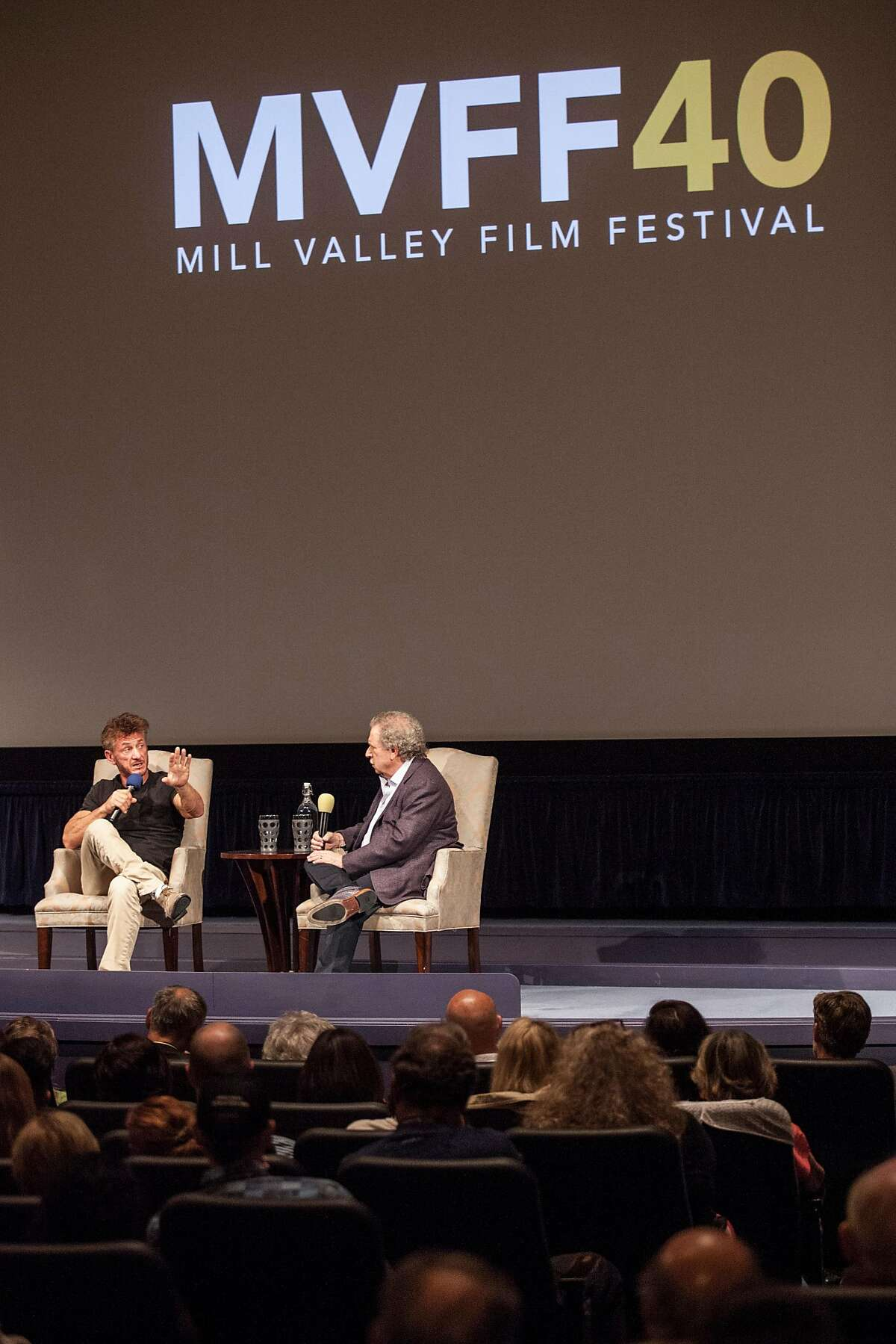 Sean Penn speaks with Mill Valley Film Festival executive director Mark Fishkin at the Smith Rafael Film Center during Mill Valley Film Festival's 40th Anniversary Tribute Program to Mr. Penn in San Rafael.