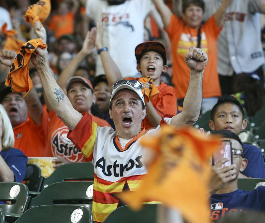 Houston Astros fan Gabriel Correa cheers for the Astros during the ALDS Game 3 against Boston Red Sox at the watch party at Minute Maid Park Sunday, Oct. 8, 2017, in Houston. ( Yi-Chin Lee / Houston Chronicle ) Photo: Yi-Chin Lee/Houston Chronicle
