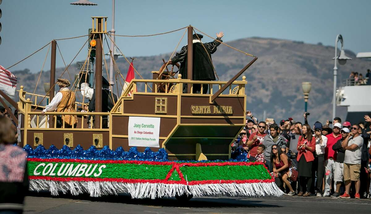 The Santa Maria Float in the Italian Heritage Parade in San Francisco, Calif. is seen on October 8th, 2017.